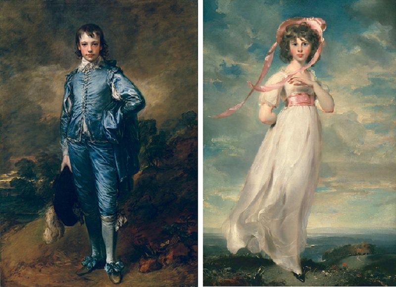 «Мальчик в голубом» Томаса Гейнсборо (1770) и «Сара Баррет Маултон: Пинки» Томаса Лоуренса (1794)