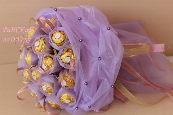 Букет из конфет из органзы мастер класс
