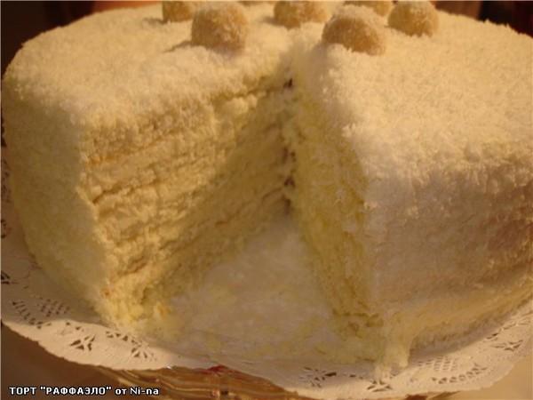 Тортик рафаэлло рецепт с фото