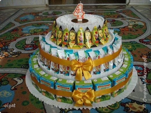 Как сделать торт из сладостей детский