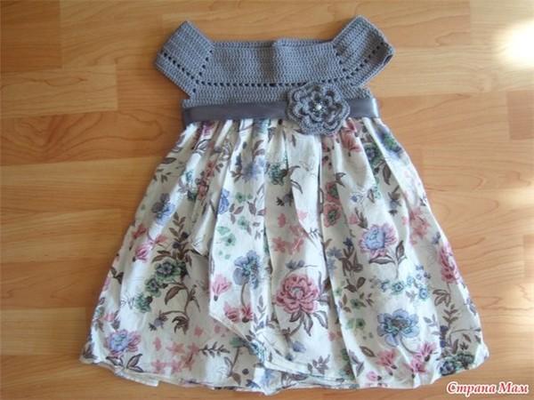 Комбинированные платья на девочку ткань и вязание - результаты поиска