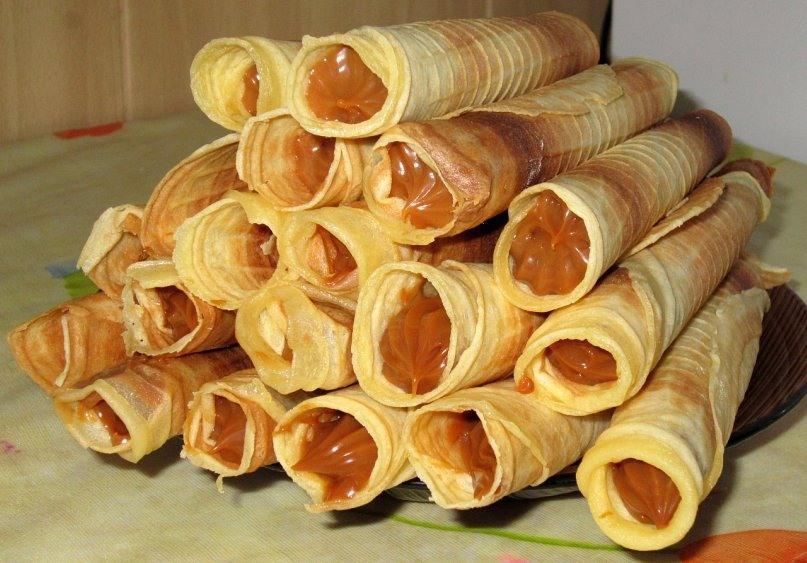 рецепт трубочек в вафельнице со сгущенкой с фото