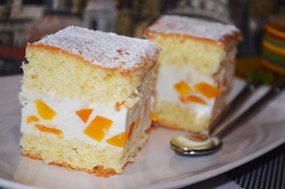 пирог с творогом и персиками рецепт с фото