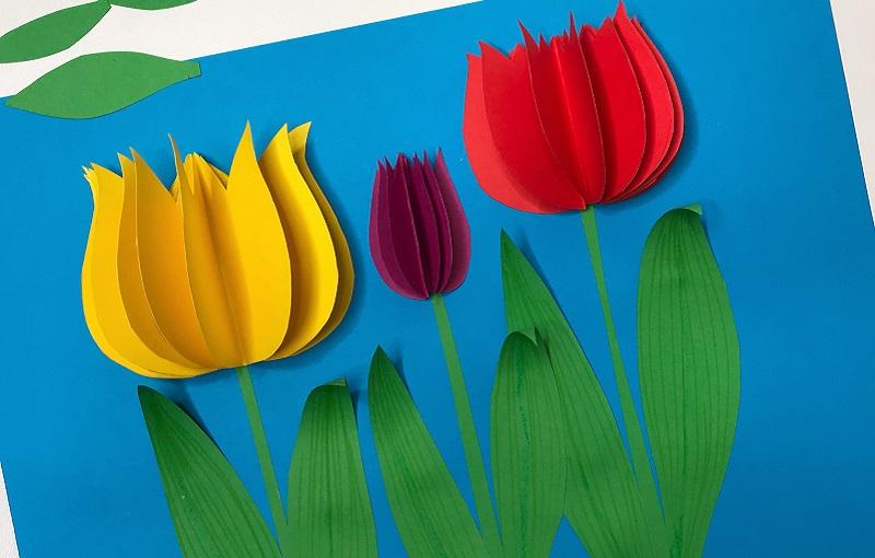 Тюльпан для открытки из цветной бумаги