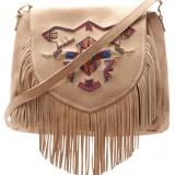 сумка, женская, бежевая, замшевая, со стразами, на плечо.