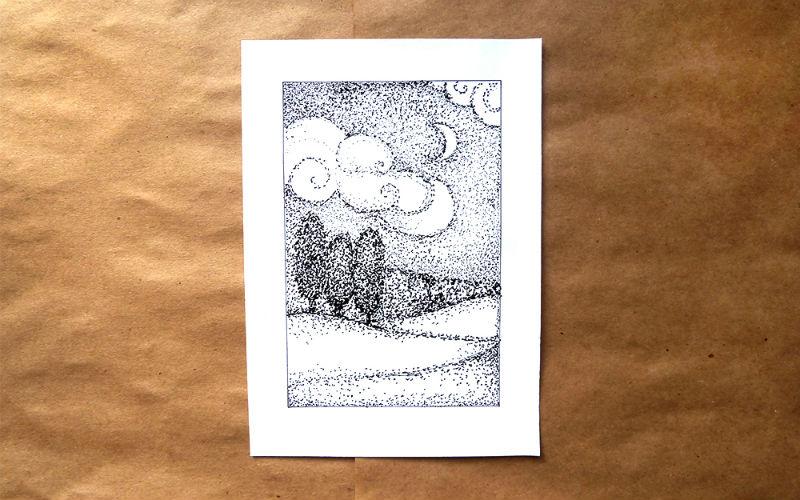 Рисуем пейзаж в технике пуантилизм